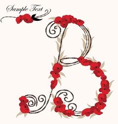 B hand drawn flower alphabet vector image