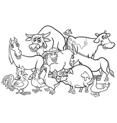 cartoon farm animals coloring book vector image vector image