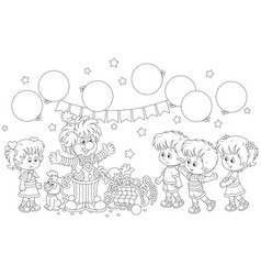 Circus clown and children vector