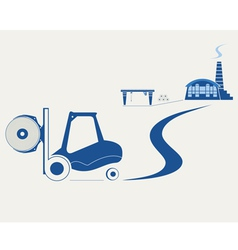 Forklift transporting roll of paper vector image vector image