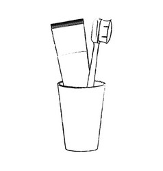 glass with tube toothpaste and toothbrush in vector image