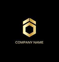 gold polygon shape technology logo vector image vector image
