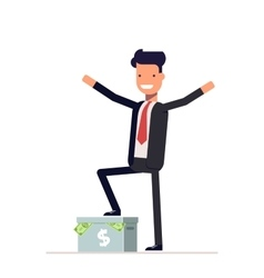 Happy businessman or manager standing on a carton vector