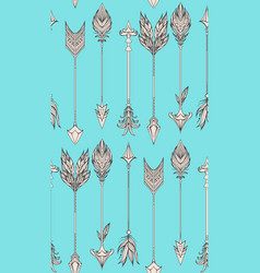 seamless pattern with boho arrows vector image