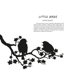 Silhouette of two birds sitting on a branch vector image vector image