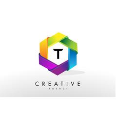 t letter logo corporate hexagon design vector image vector image