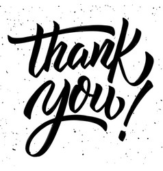 thank you hand drawn lettering phrase isolated on vector image vector image