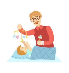 Young father putting baby to sleep in bed vector