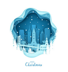 christmas philadelphia in the snow paper city vector image