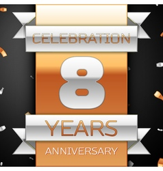 Eight years anniversary celebration golden and vector image