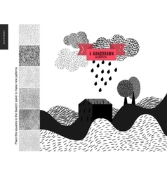 Handdrawn patterns with a landscape vector image vector image