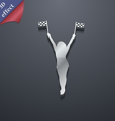 Racing pin up girl with flag icon symbol 3d style vector