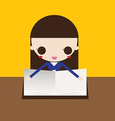 young girl reading the Book vector image