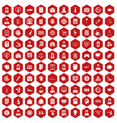 100 statistic data icons hexagon red vector