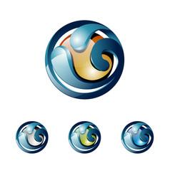 3d wave water shiny ball nature logo vector