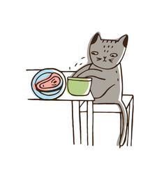 Adorable cat stealing food from plate lying on vector