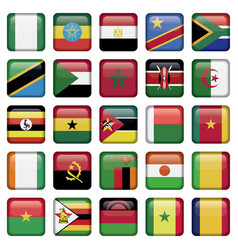 African Flags Square Icons vector image