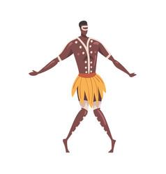 African ritual dance man dancing folk dance vector