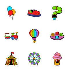 Attraction icons set cartoon style vector