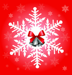 big snowflake in red color vector image