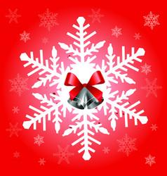 Big snowflake in red color vector