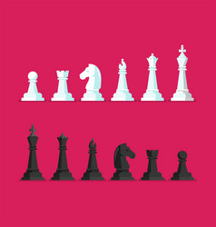 black and white chess piece icons set vector image