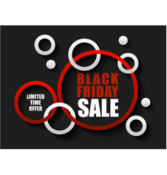 black friday sale banner with red and white rings vector image
