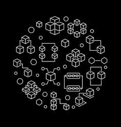 block chain round line on dark vector image