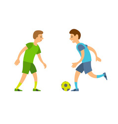 Boys playing football people running with ball vector