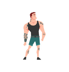 Brutal muscular man with tattoo attractive vector