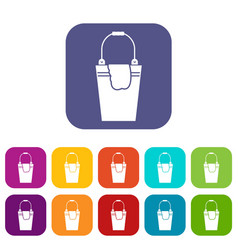 Bucket and rag icons set vector
