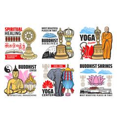 Buddhism religion symbols isolated icons vector