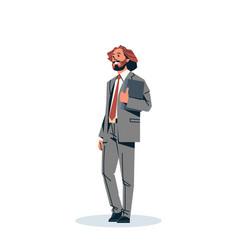 businessman holding documents folder business man vector image