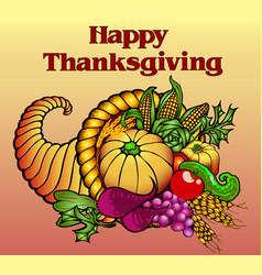 Card for thanksgiving with a cornucopia fruits vector