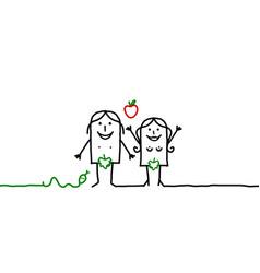 Cartoon couple - adam and eve vector