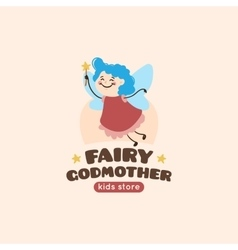cartoon fairy godmother logo vector image