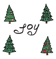 Cartoon fir-tree Greeting card - joy vector