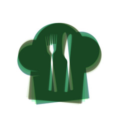 Chef hat and spoon fork knife sign vector