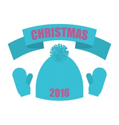 Christmas of 2016 Set of winter clothing Knitted vector