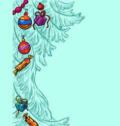christmas tree new year background vector image