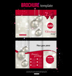 Christmas trifold brochure template Abstract flyer vector