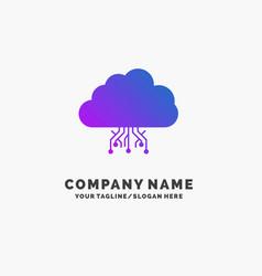 cloud computing data hosting network purple vector image
