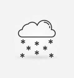 cloud with snow outline icon snowy weather symbol vector image