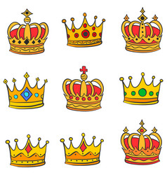Collection stock red crown doodle set vector