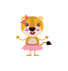 colorful caricature of cute expression lioness in vector image