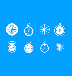 compass icon blue set vector image