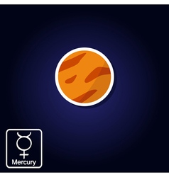 cons with Mercury and astrology symbol of planet vector image