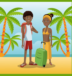 Couple afro american with backpack baggage palm vector