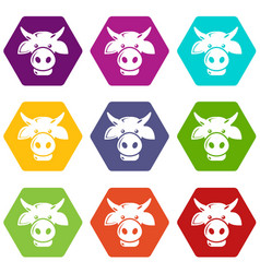 cow head icons set 9 vector image