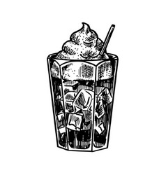 Cup coffee in vintage style frappe in a glass vector